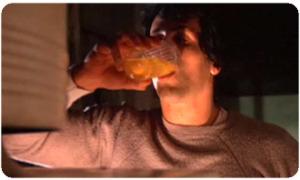 Rocky, drinking raw eggs