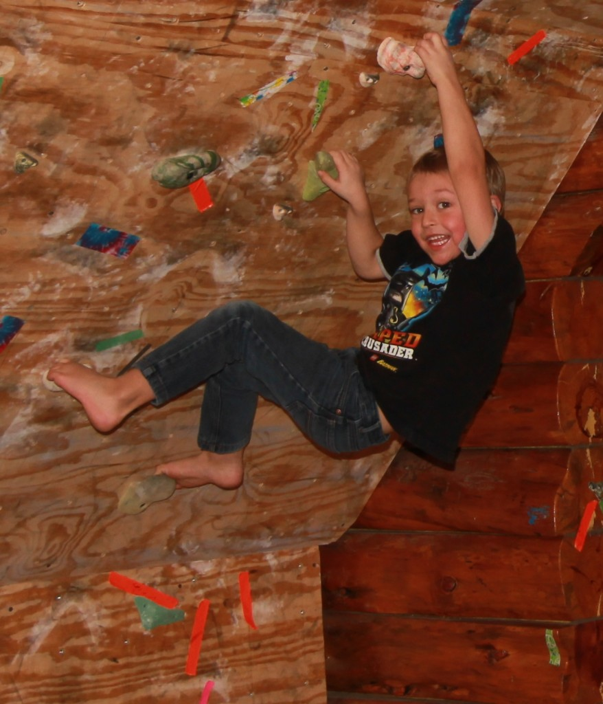 My 5 year old son, demonstrating his rock climbing skills