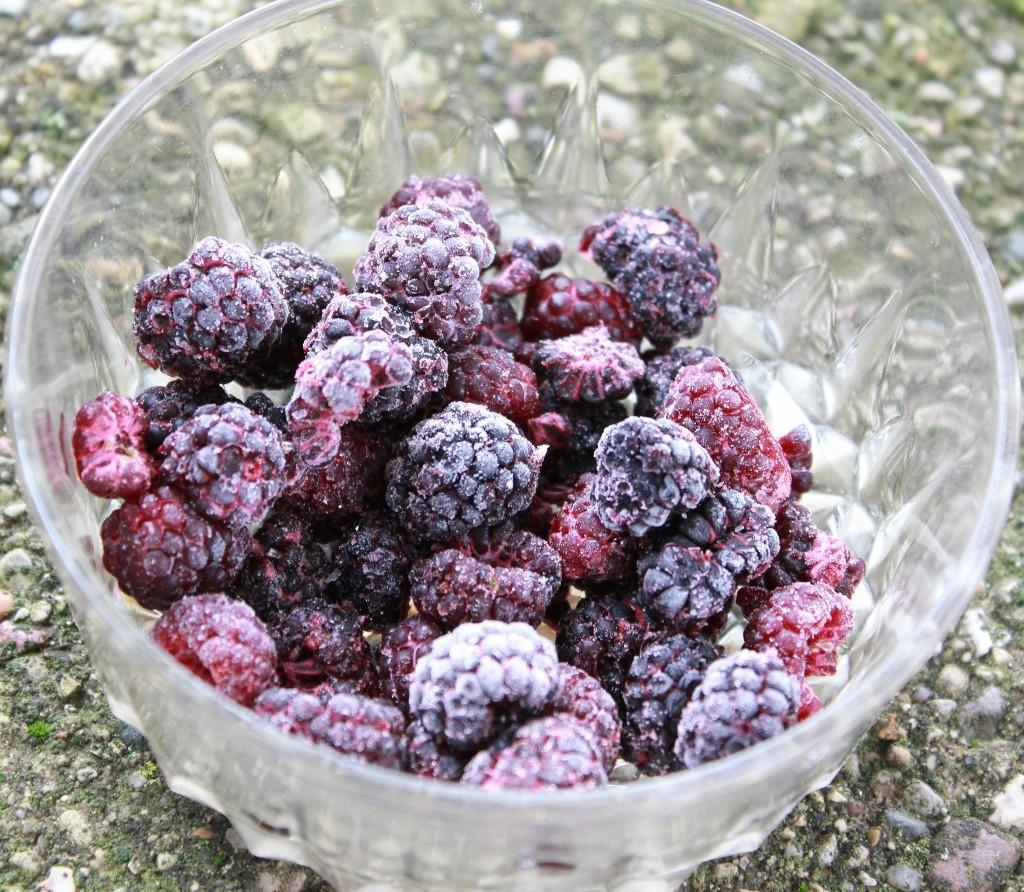 Frozen, wild black berries